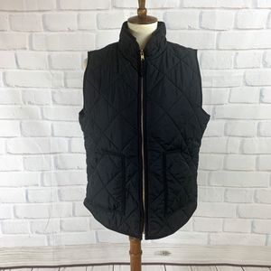 J. Crew Factory Black Quilted Puffer Vest I Large